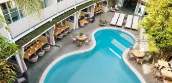 Overhead shot of pool and hotel