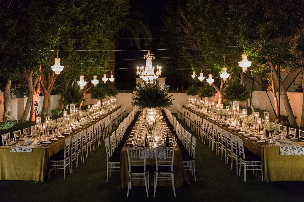 Wedding tables outdoors at Avalon Palm Springs