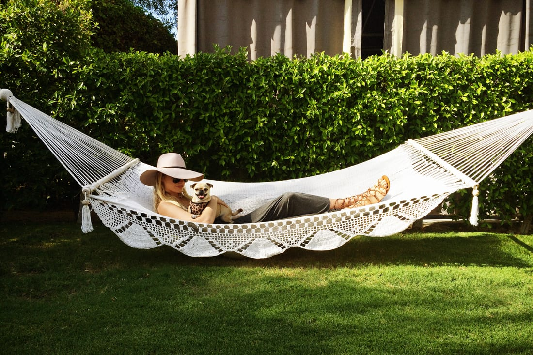 woman lying on hammock with a small dog