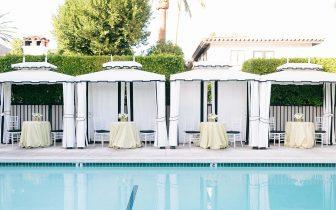 wedding details near outdoor pool
