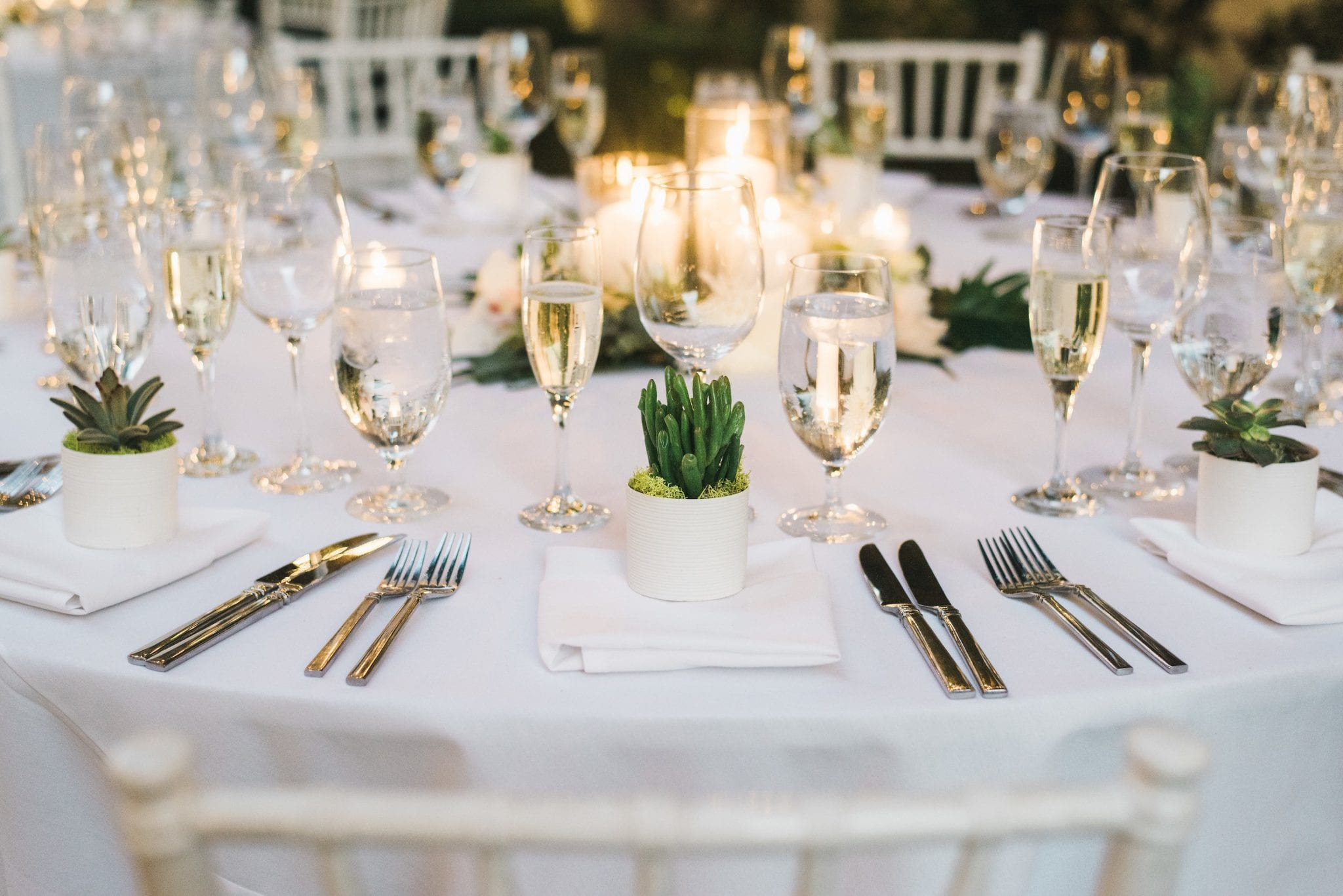 Table with place settings and centerpiece