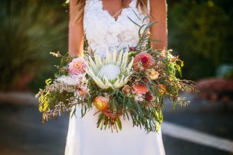 Closeup of woman holding flower bouquet