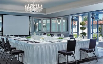 meeting room with horseshoe table and projection screen