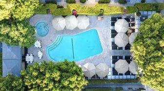 Overhear view of pool surrounded by umbrellas and trees