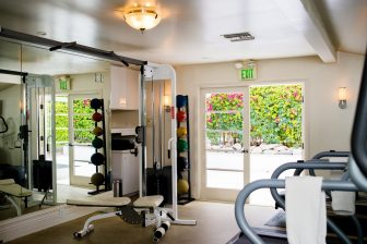 Gym with treadmills and medicine balls and large mirror