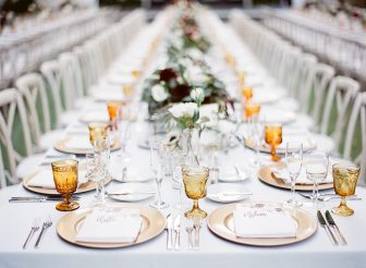 wedding banquet table with placesettings
